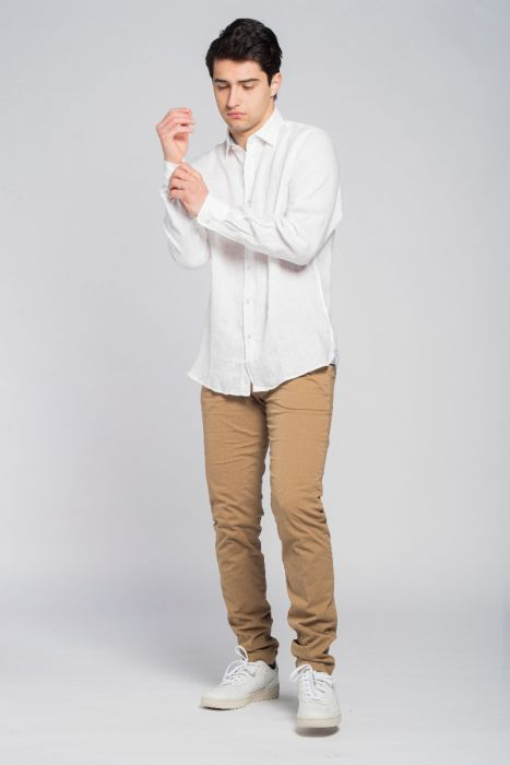 camicia di lino bianca uomo modello Billi white Nuvolari