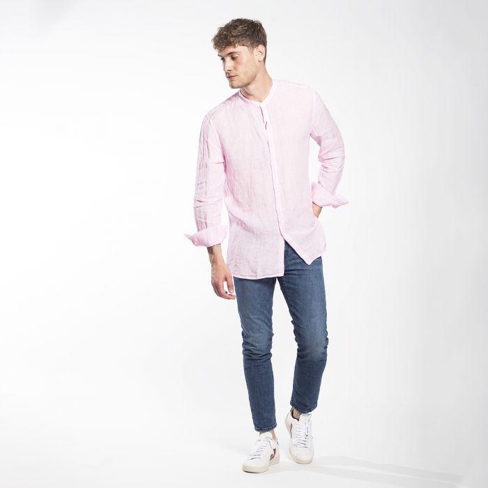 camicia di lino uomo rosa